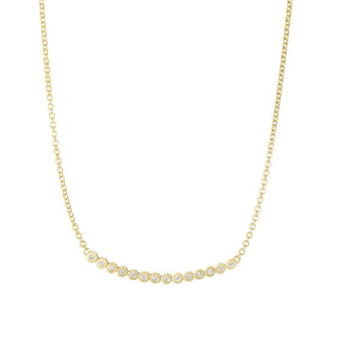 14K Brushed Gold Curved Bar Delicate Necklace with 0.11 ct Diamonds