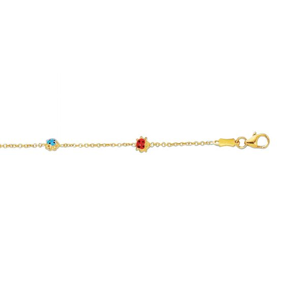 14K Yellow Gold Children's Enamel Lady Bug Bracelet