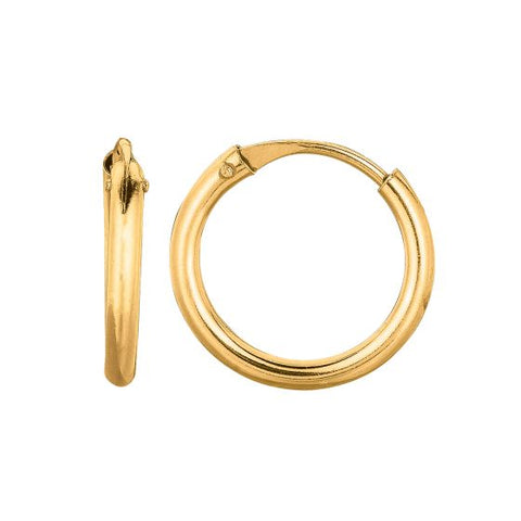 14K Gold Round Endless Small Hoop Earring