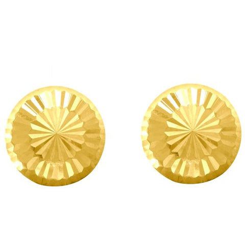 14K Gold Delicate Diamond Cut Circle Stud Earring