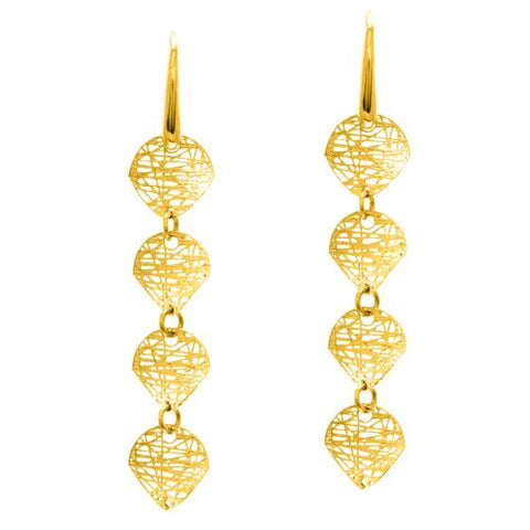 14K Gold Mesh 4-Drop Statement Dangle Earring