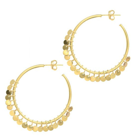 14K Gold Tambourine Statement Medium Hoop Earring