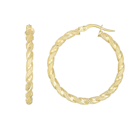 14k Gold Medium Rope Texture Round Hoop Earring