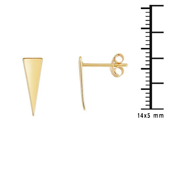 14K Gold Oblong Minimalist Triangle Stud Earring