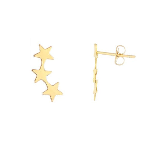 14K Gold 3 Star Cute Ear Climber Earring