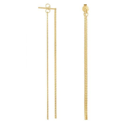 "14K Gold Front Back 3"" Thin Linear Drop Earring"