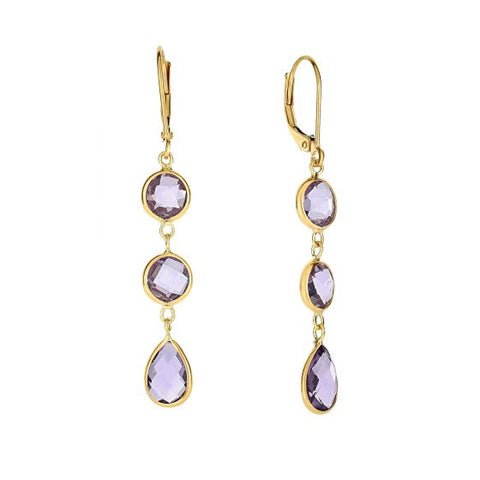 14K Gold Earring with Round and Teardrop Briolette Amethyst