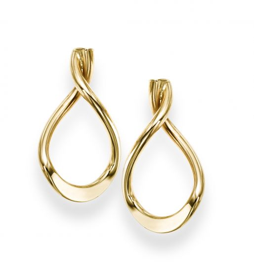 14kt Yellow Gold Teardrop Twist Post Earring