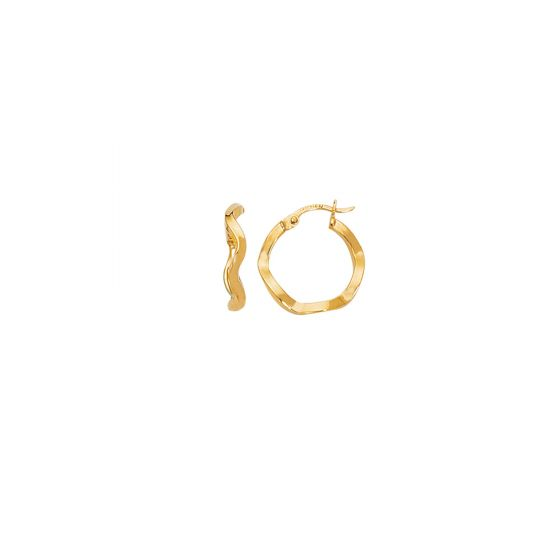14K Yellow Gold Wavey Small Hoop Earring