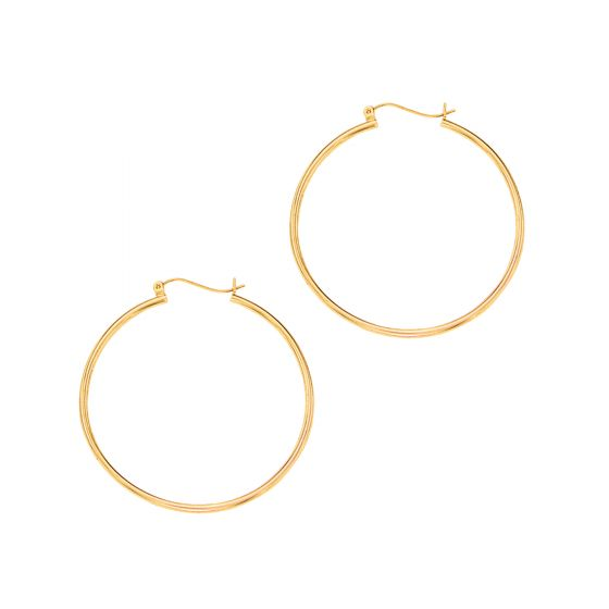 14K Gold Everyday Round Small/Medium/Large Hoop Earring