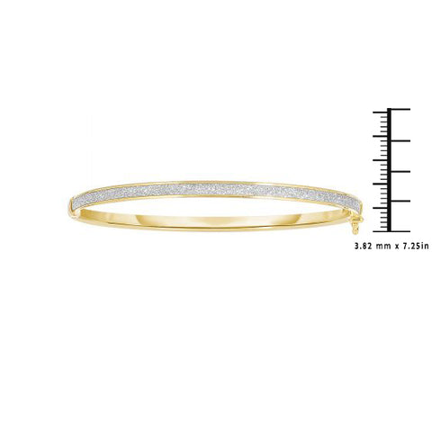14K Gold 3.82mm Glitter Gold Bangle