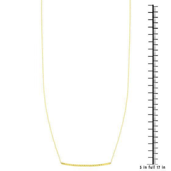 14K Gold Minimalist Diamond Cut Bar Necklace