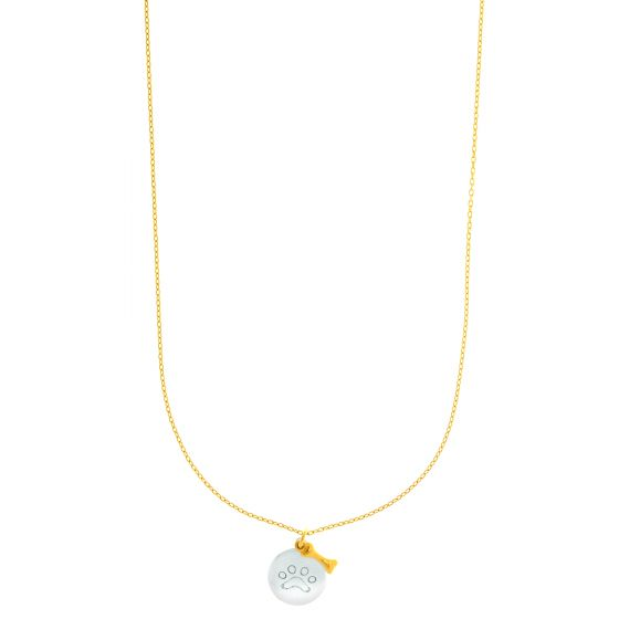 14K Gold Two Tone @Pradawolf Dog Paw and Bone Charm Necklace