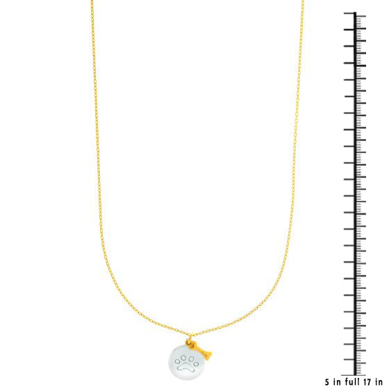 14K Gold Two Tone Dog Paw and Bone Charm Necklace