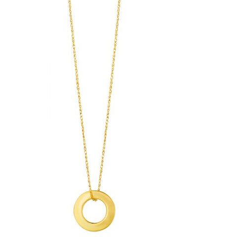 14K Gold Open Circle Delicate Pendant Necklace