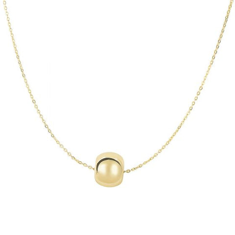14K Gold Delicate Round Bead Charm Necklace