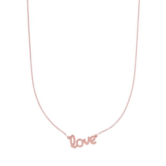 14K Rose Gold Scripted Love Necklace