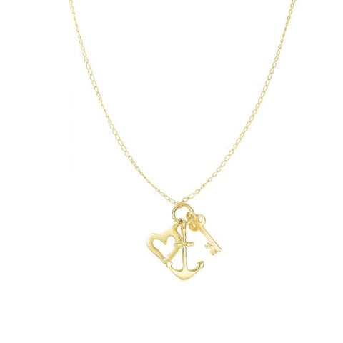 14K Yellow Gold Heart, Anchor, Key Charm Love Necklace