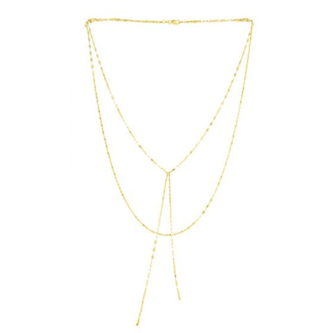 14K Yellow Gold Delicate Layered Fancy Diamond Cut Chain Lariat Necklace