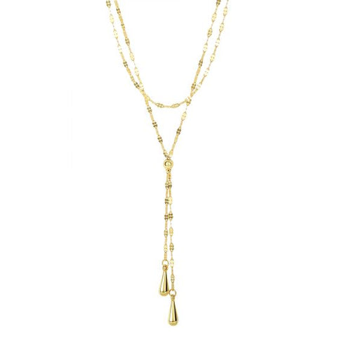 14K Gold Layered Mariner Chain Lariat Necklace