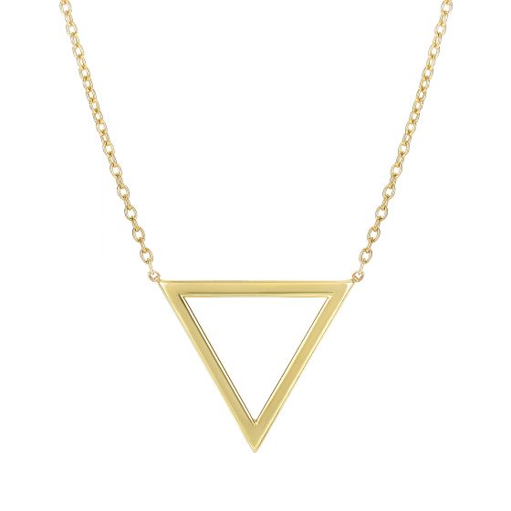 14K Gold Delicate Geometric Triangle Necklace