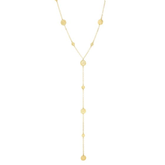 14K Gold Textured Flat Round Bead Station Y Necklace