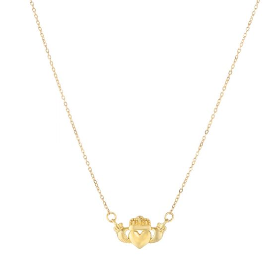 14K Yellow Gold Claddagh Love Necklace
