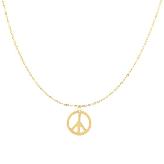 14K Gold Delicate Peace Sign Charm Necklace