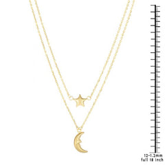 14K Gold Celestial Moon and Star Layered Necklace