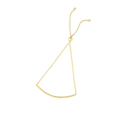 14K Gold Curved Bar Adjustable Bolo Bracelet