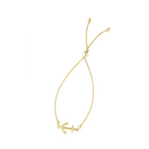 14K Yellow Gold Sideways Love Anchor Adjustable Bolo Bracelet