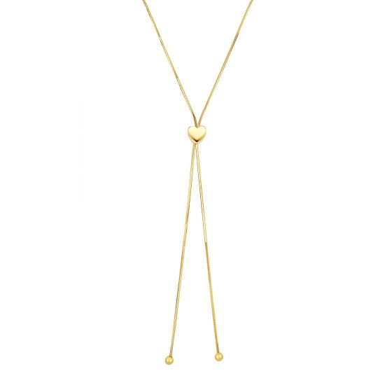 14K Yellow Gold Lariat Necklace with Love Heart