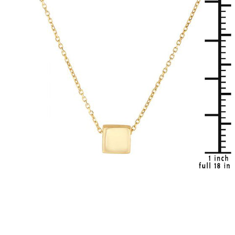 14K Delicate Square Shape Charm Necklace