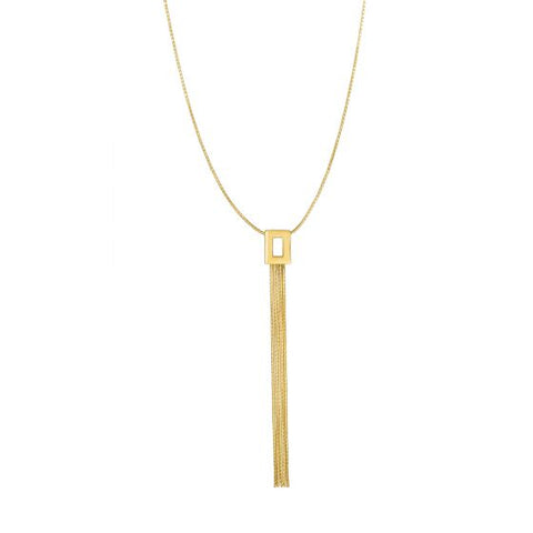 14K Gold Geometric Fringe Y Necklace