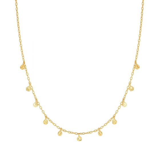 14K Yellow Gold Choker Necklace with Disc Charms