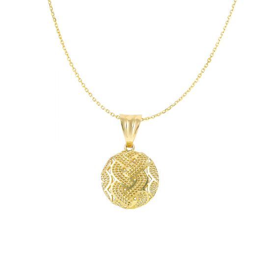 14K Yellow Gold Weaved Round Pendant Necklace