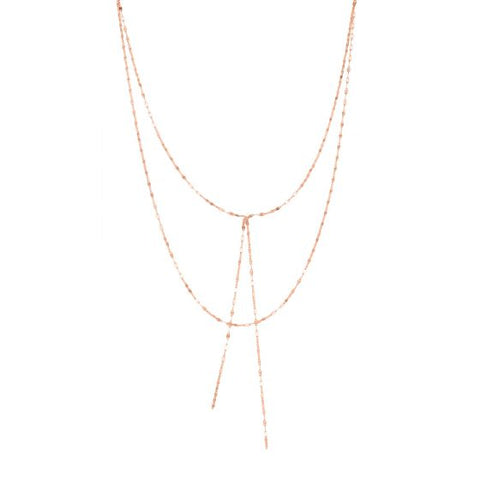 14K Rose Gold Delicate Layered Fancy Diamond Cut Chain Lariat Necklace