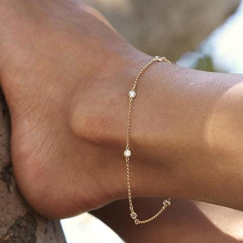925 Sterling Silver Gold Color 8+1 Inch AAA+ Cubic Zirconia Casual/Sporty Woman Anklet
