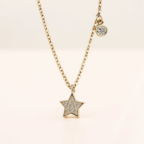925 Sterling Silver Gold Color Celestial Star Pendant Necklace for Women