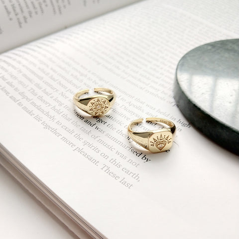 925 Sterling Silver Fashion Stylish Gold Color carved Heart/ Sun Ring For Women