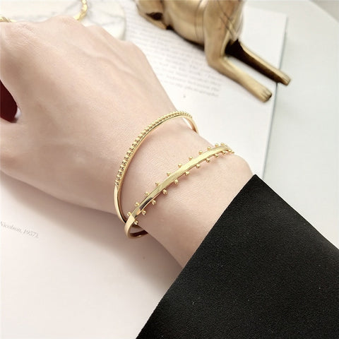 925 Sterling Silver Gold Color Cuff Bracelets Bangles for Women