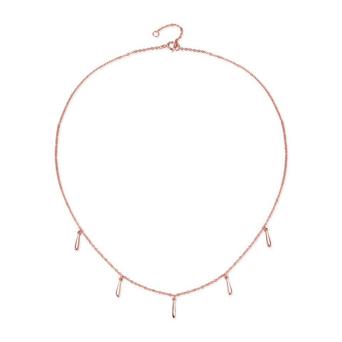 925 Sterling Silver Geometric Stick Choker Charm Necklace in Rose Gold Color  for Women