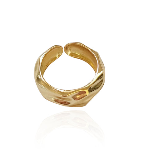 925 Sterling Silver Fashion Women Gold Color Adjustable Band Ring