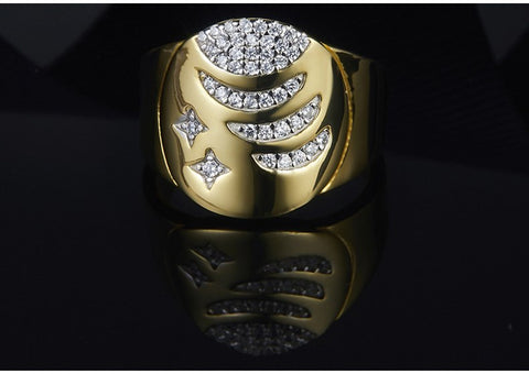 925 Sterling Silver AAA Zirconia Celestial Milky Way Stars Signet Ring for Women
