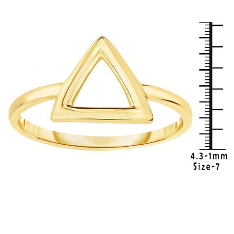 14K Delicate Gold Minimalist Geometric Triangle Ring