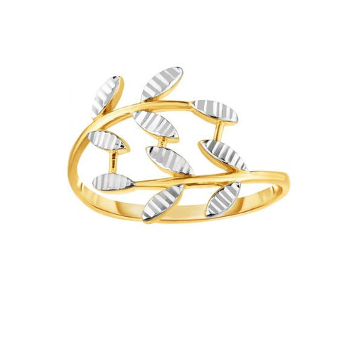 14K Two Tone Diamond Cut Vine Wrap Ring