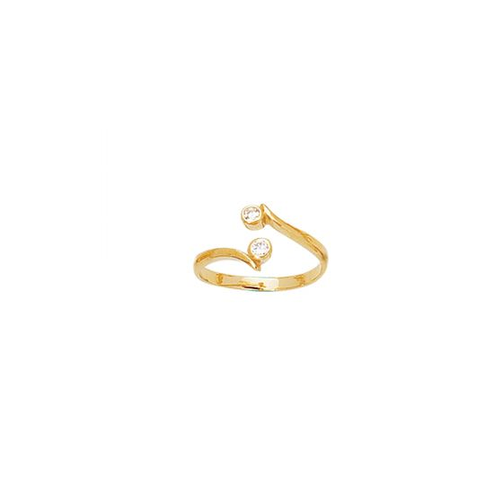 14K Gold CZs Accented Midi Knuckle Ring