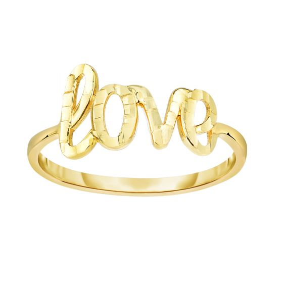 14K Gold Diamond Cut Love Script Ring