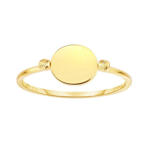 14K Gold Shiny Flat Round Bead Signet Ring