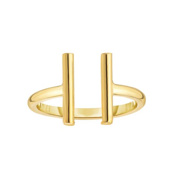 14K Gold Minimalist Open Vertical Double Bar Ring